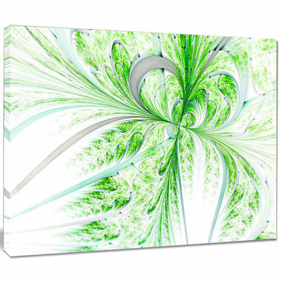 Designart Green Grungy Floral Fractal Shapes WallArt Canvas