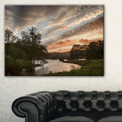 Design Art Sunset Over Rydal Waters Landscape Artwork Canvas