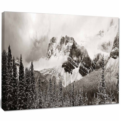 Designart Snow Capped Hills And Bow Lake LandscapeCanvas Art Print