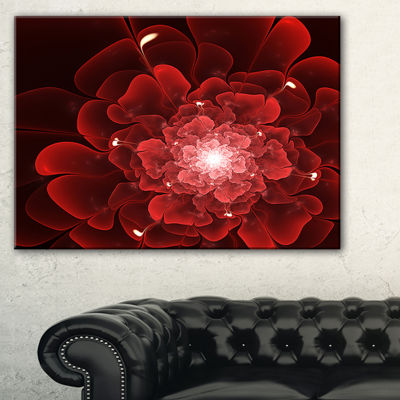 Designart Fractal Flower Clear Red Digital Art Canvas Art Print