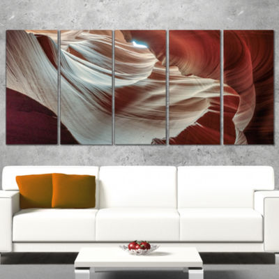 Design Art Antelope Canyons Hollow Landscape Photo Canvas Art Print - 5 Panels