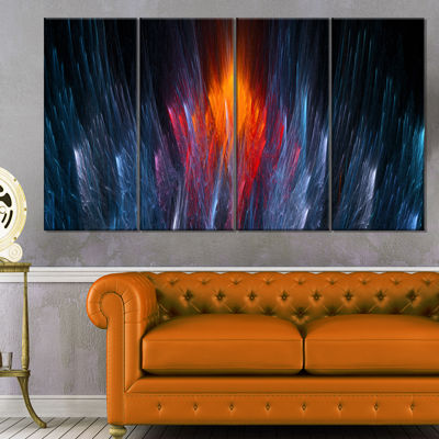 Designart Fractal Fire In Light Blue Abstract Canvas Art Print - 4 Panels