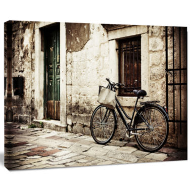 Designart Bicycle With Shopping Bag Landscape Photo Canvas Art Print