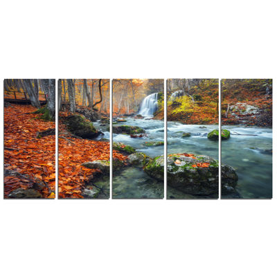 Designart Forest With Red And Orange Leaves Landscape Photography Canvas Print - 5 Panels