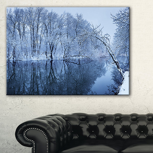 Designart Blue Winter River And Forest Landscape Photo Canvas Art Print