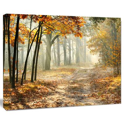 Design Art Bright Yellow Fall Morning Landscape Photo Canvas Art Print