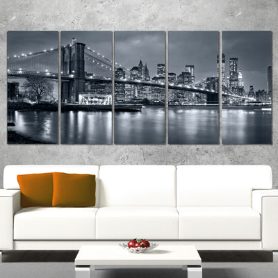 Designart Panorama New York City At Night Cityscape Canvas Print - 5 Panels
