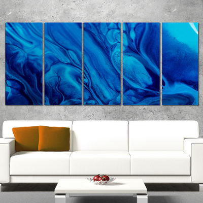 Designart Dark Blue Abstract Acrylic Paint Mix ArtCanvas Wall Art - 5 Panels