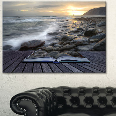 Design Art Open Book To The Evening Sea Contemporary Canvas Art Print