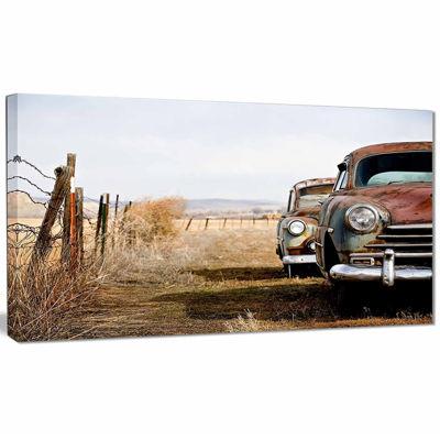 Designart Vintage Cars Contemporary Canvas Art Print