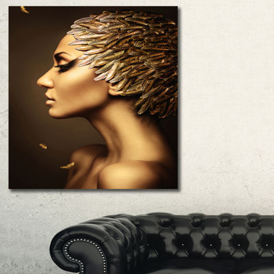 Designart Woman With Gold Feather Hat ContemporaryCanvas Art Print