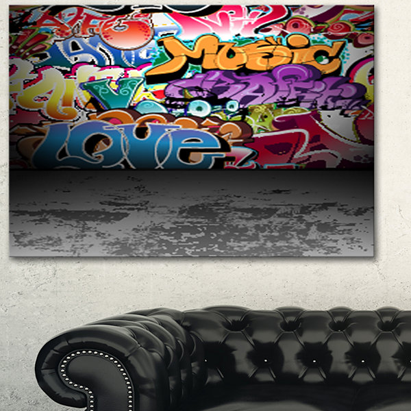 Designart Love And Music Street Art Graffiti Canvas Print