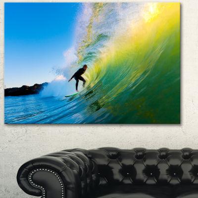Design Art Surfer Beating Green Waves Photography Canvas Art Print
