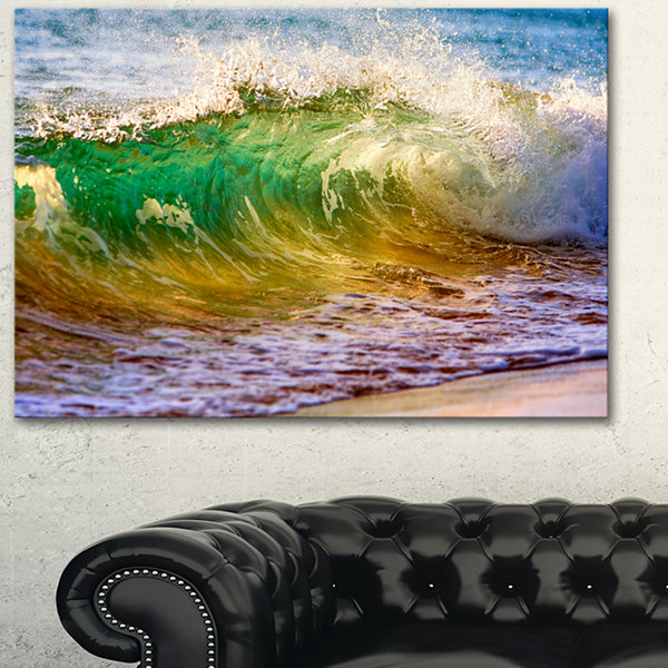 Designart Ocean Turning Green Seascape Canvas ArtPrint