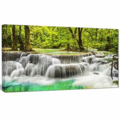Designart Erawan Waterfall View Photography CanvasArt Print