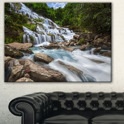 Designart White Mae Ya Waterfall Landscape Photography Canvas Art Print