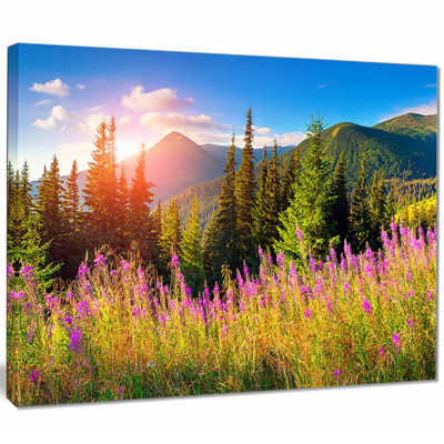 Designart Mountains With Pink Flowers Canvas Art Print