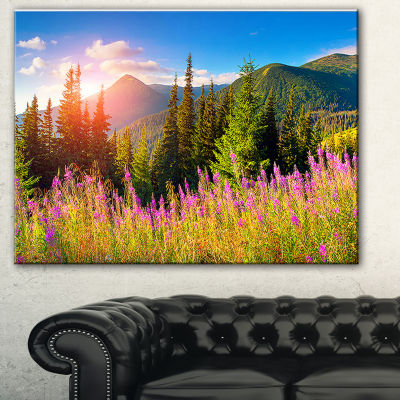 Design Art Mountains With Pink Flowers Canvas Art Print