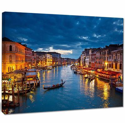 Design Art Grand Canal At Night Venice Cityscape Photo Canvas Print