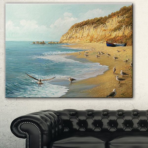 Design Art The Calm Beach Landscape Painting Canvas Print
