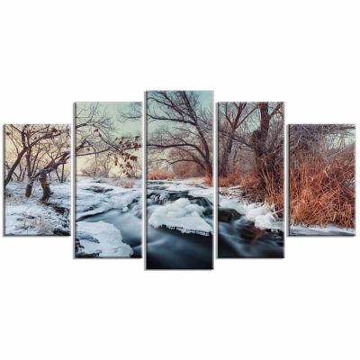 Designart Ukraine Winter Forest Landscape Photography Canvas Print - 5 Panels