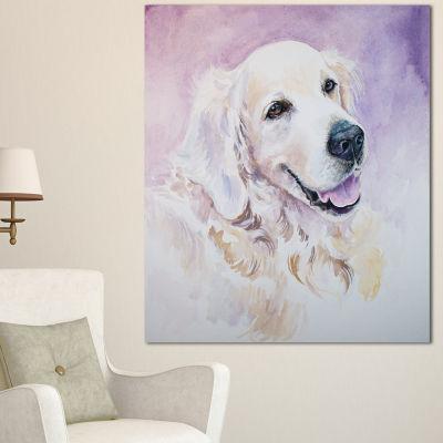 Designart Funny Golden Retriever Animal Canvas ArtPrint