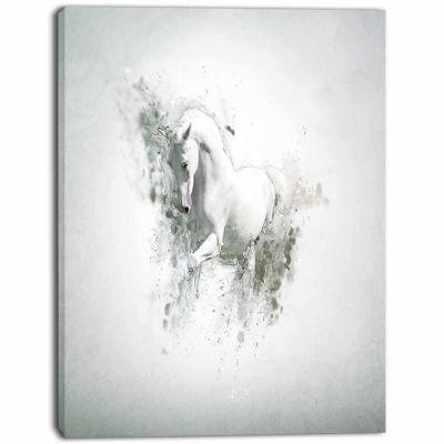 Design Art Graceful White Horse Animal Canvas Wall Art
