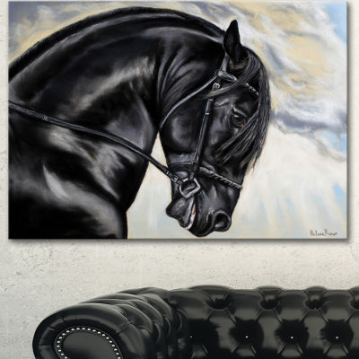 Design Art Friesian Horse Painting Animal Canvas Art Print