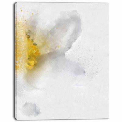 Design Art White Yellow Flower Sketch On White Flower Art work On Canvas