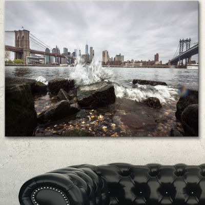 Design Art Skyline With Brooklyn Manhattan Bridges Cityscape Canvas Art Print