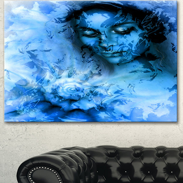 Designart Young Woman With Closed Eyes Portrait Canvas Art Print