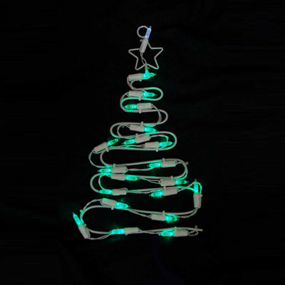 """12"""" Battery Operated LED Lighted Christmas Tree Window Silhouette with Timer"""""""