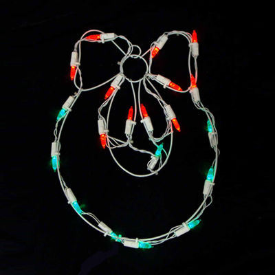 "12"" Battery Operated LED Lighted Wreath and Bow Christmas Window Silhouette"""
