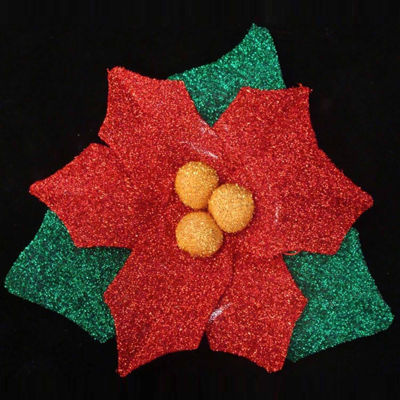 """22"""" Christmas Traditions Pre-Lit Tinsel Poinsettia Christmas Window Decoration"""""""