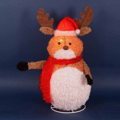 """24"""" Lighted 3-D Chenille Reindeer with Santa Hat Outdoor Christmas Yard Art Decoration"""""""