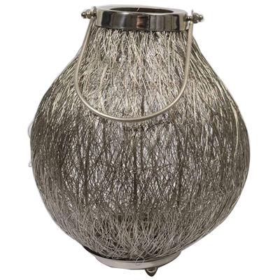 "18.5"" Urban Life Contemporary Silver Tea Light Candle Holder Lantern"""