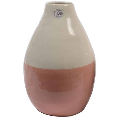 "12"" L'Eau de Fleur Hand-Made Peach Pink and White Ceramic Vase"""