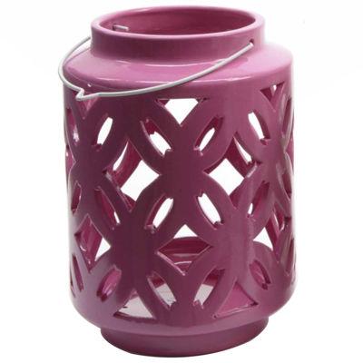 """7"""" City Chic Pastel Fuschia Floral Cut-Out Porcelain Tea Light Candle Holder"""""""