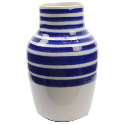 "14"" Seaside Treasures Decorative White Vase with True Blue Stripes"""
