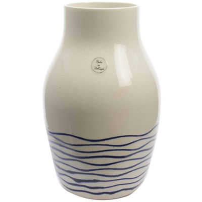 Seaside Treasures White and Navy Blue Striped Crackle Finished Vase 14""
