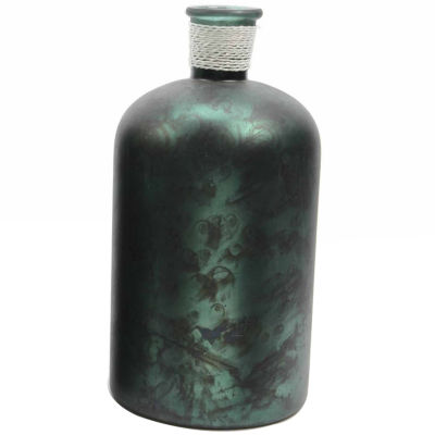"10"" Botanic Beauty Handcrafted Dark Green Verdigris Style Decorative Glass Vase with Raffia Band"""