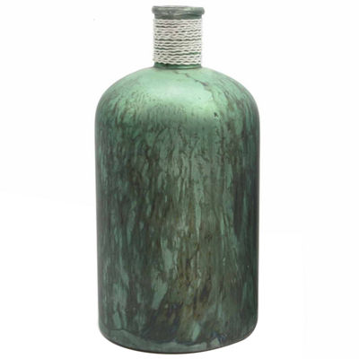 "10"" Botanic Beauty Handcrafted Green Verdigris Style Decorative Glass Vase with Raffia Band"""