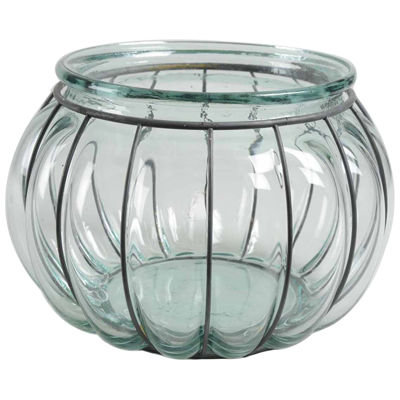 "10.25"" Tea Garden Hand-Made Transparent Recycled Spanish Glass Over-Sized Pillar Candle Holder"""