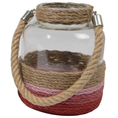 "14.5"" Tropicalia Shades of Red Jute Wrapped Tea Light Candle Holder"""