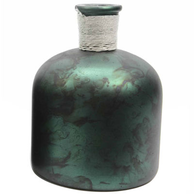 "6.75"" Botanic Beauty Handcrafted Dark Green Verdigris Style Decorative Glass Vase with Raffia Band"""