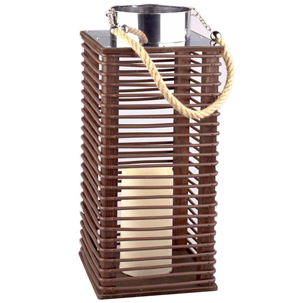 "15.5"" Contemporary Wooden Corded Lantern with LED Flameless Pillar Candle with Timer"""