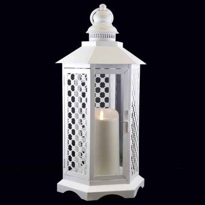"16"" White Floral Lattice Lantern with Luminara Flameless LED Lighted Candle"""