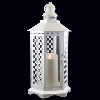 "19"" White Floral Lattice Lantern with Luminara Flameless LED Lighted Candle"""