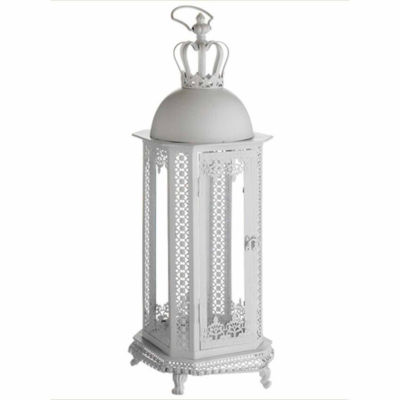 """30"""" Antique White Crown Top Floral Glass Candle Lantern"""""""