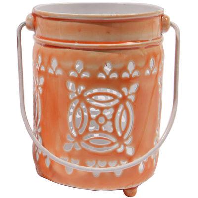 """7.5"""" L'Eau de Fleur Bright Orange Cut-Out Votive Candle Lantern"""""""